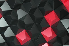 Pattern of black and red pyramid shapes. Wall of pyramid. Abstract background. 3D rendering illustration Royalty Free Stock Photography
