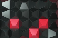 Pattern of black and red pyramid shapes. Wall of pyramid. Abstract background. 3D rendering illustration Stock Photo