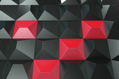 Pattern of black and red pyramid shapes. Wall of pyramid. Abstract background. 3D rendering illustration Stock Image