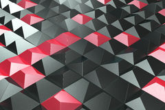 Pattern of black and red pyramid shapes. Wall of pyramid. Abstract background. 3D rendering illustration Stock Photography