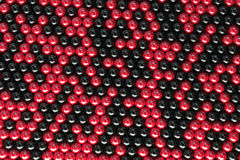 Pattern of black and red spheres. Shiny balls. Abstract background. 3D rendering illustration royalty free illustration
