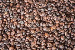 Pattern black roasted coffee bean texture and background Stock Photography