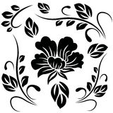 Pattern with black silhouettes of flower and leave Stock Photo