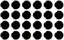 Pattern of black smooth bulging bulky abstract shiny beautiful balls, circles with glare of light on a white background. Vector seamless illustration Stock Images