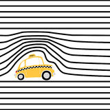 Pattern with black stripes and a yellow taxi Royalty Free Stock Photos