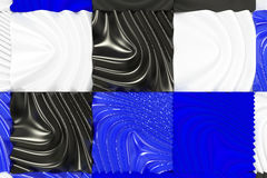 Pattern of black, white and blue cubes with deformed surfaces. Wall of deformd cubes. Abstract background. 3D rendering illustration Stock Images
