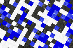 Pattern of black, white and blue cubes with deformed surfaces. Wall of deformd cubes. Abstract background. 3D rendering illustration Royalty Free Stock Photo