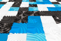 Pattern of black, white and blue cubes with deformed surfaces. Wall of deformd cubes. Abstract background. 3D rendering illustration Royalty Free Stock Photography
