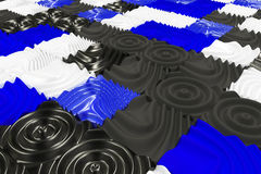 Pattern of black, white and blue cubes with deformed surfaces. Wall of deformd cubes. Abstract background. 3D rendering illustration Stock Photography
