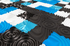 Pattern of black, white and blue cubes with deformed surfaces Royalty Free Stock Photos