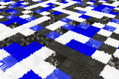 Pattern of black, white and blue cubes with deformed surfaces Royalty Free Stock Images