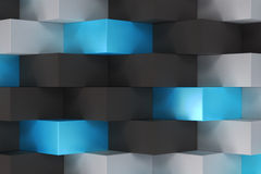 Pattern with black, white and blue rectangular shapes. Wall of cubes. Abstract background. 3D rendering illustration Royalty Free Stock Photos