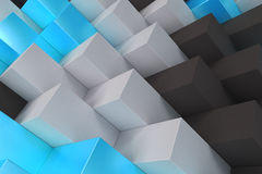 Pattern with black, white and blue rectangular shapes. Wall of cubes. Abstract background. 3D rendering illustration Royalty Free Stock Images