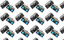 Pattern of black and white and colored, hipster, beautiful, vintage retro audio tape recorders from the 80`s on a white backgroun. D. Seamless texture. Vector Vector Illustration