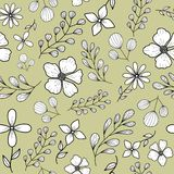 Pattern with black-white doodle flowers and branches vector illustration