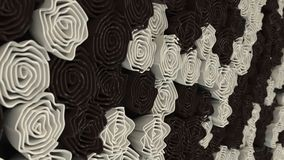 Pattern from black and white flowers. Abstract floral background. 3D rendering illustration Stock Photo