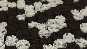 Pattern from black and white flowers. Abstract floral background. 3D rendering illustration Stock Photography