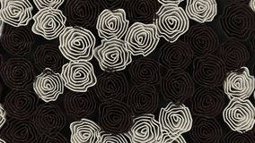 Pattern from black and white flowers. Abstract floral background. 3D rendering illustration Royalty Free Stock Images
