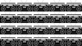 Pattern of black and white and gray, hipster, beautiful, vintage retro audio tape recorders from the 80`s on a white background. Seamless texture. Vector Stock Illustration