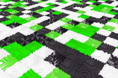 Pattern of black, white and green cubes with deformed surfaces. Wall of deformd cubes. Abstract background. 3D rendering illustration Stock Photos