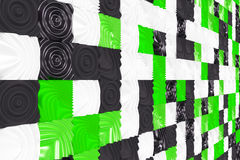 Pattern of black, white and green cubes with deformed surfaces. Wall of deformd cubes. Abstract background. 3D rendering illustration Stock Image