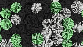 Pattern from black, white and green flowers. Abstract floral background. 3D rendering illustration Royalty Free Stock Images