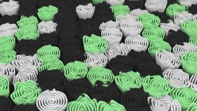 Pattern from black, white and green flowers. Abstract floral background. 3D rendering illustration Stock Photography