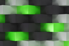 Pattern with black, white and green rectangular shapes Stock Image