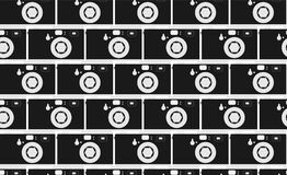 Pattern of black and white, hipster, beautiful, vintage retro cameras. Masonry from the cameras. Seamless texture. Vector illustration Stock Photography