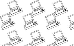Pattern of black and white, old, vintage, retro, hipster computers with convex monitors and floppy. Vector illustration Stock Photos