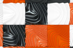 Pattern of black, white and orange cubes with deformed surfaces. Wall of deformd cubes. Abstract background. 3D rendering illustration Royalty Free Stock Photo