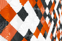 Pattern of black, white and orange cubes with deformed surfaces Royalty Free Stock Photography