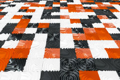 Pattern of black, white and orange cubes with deformed surfaces. Wall of deformd cubes. Abstract background. 3D rendering illustration Stock Images