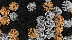 Pattern from black, white and orange flowers. Abstract floral background. 3D rendering illustration Royalty Free Stock Photo