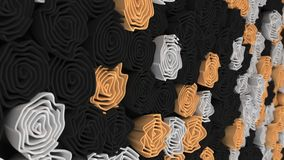 Pattern from black, white and orange flowers. Abstract floral background. 3D rendering illustration Royalty Free Stock Photography
