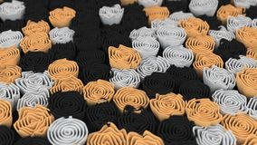 Pattern from black, white and orange flowers. Abstract floral background. 3D rendering illustration Royalty Free Stock Images
