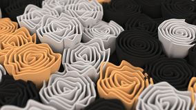 Pattern from black, white and orange flowers. Abstract floral background. 3D rendering illustration Stock Photography