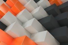 Pattern with black, white and orange rectangular shapes Stock Photos