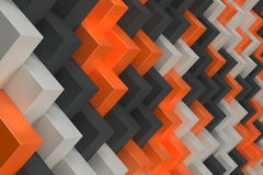 Pattern with black, white and orange rectangular shapes. Wall of cubes. Abstract background. 3D rendering illustration Stock Photo