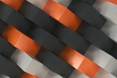 Pattern with black, white and orange rectangular shapes. Wall of cubes. Abstract background. 3D rendering illustration Stock Images