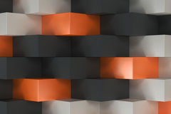 Pattern with black, white and orange rectangular shapes. Wall of cubes. Abstract background. 3D rendering illustration Stock Photography