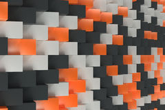 Pattern with black, white and orange rectangular shapes. Wall of cubes. Abstract background. 3D rendering illustration Stock Photos