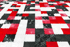 Pattern of black, white and red cubes with deformed surfaces Stock Photography