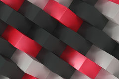 Pattern with black, white and red rectangular shapes. Wall of cubes. Abstract background. 3D rendering illustration royalty free illustration