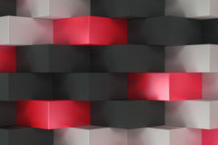 Pattern with black, white and red rectangular shapes Stock Photo