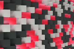 Pattern with black, white and red rectangular shapes. Wall of cubes. Abstract background. 3D rendering illustration vector illustration