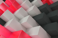 Pattern with black, white and red rectangular shapes. Wall of cubes. Abstract background. 3D rendering illustration Royalty Free Stock Photos