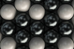 Pattern of black and white spheres. Shiny balls. Abstract background. 3D rendering illustration Stock Photos