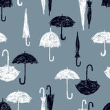 Pattern of the black and white umbrellas Stock Image