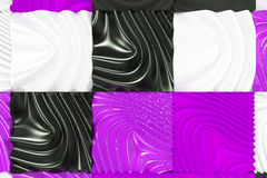 Pattern of black, white and violet cubes with deformed surfaces Royalty Free Stock Photography